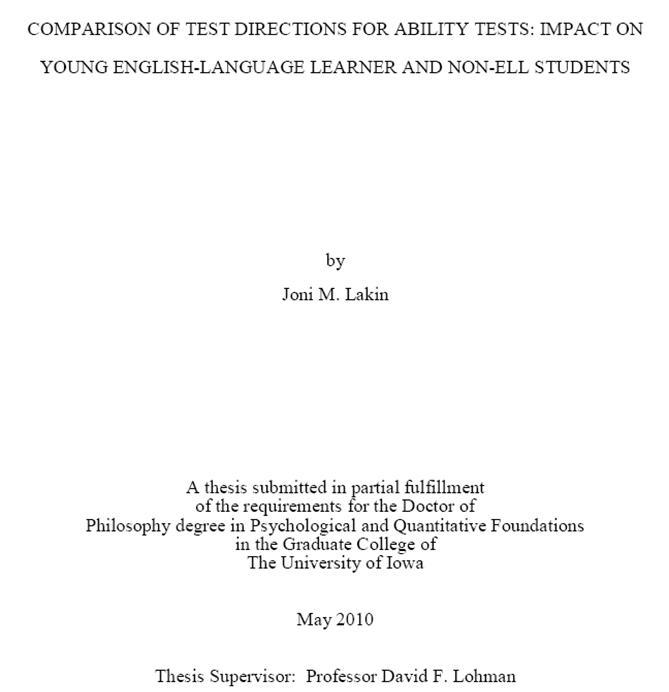 chapters in a masters thesis in education